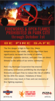 Open fire ban through October 1, 2016