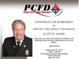 Announcing the Retirement of Assistant Chief/ District Fire Marshal Scott W. Adams